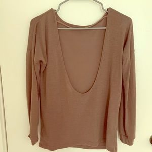 Brown Open back Sweater